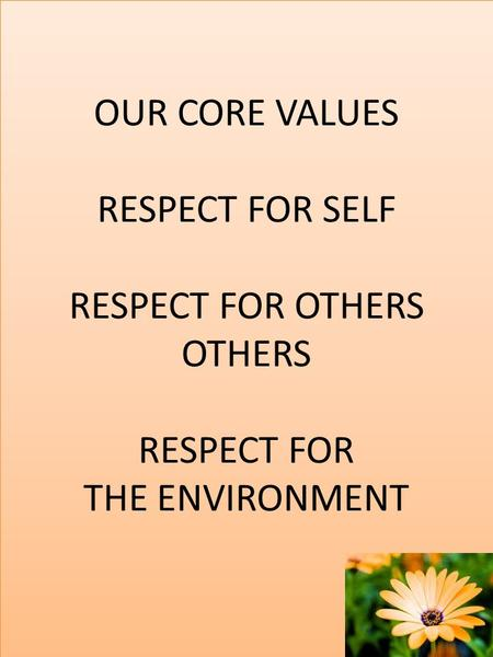 OUR CORE VALUES RESPECT FOR SELF RESPECT FOR OTHERS OTHERS RESPECT FOR THE ENVIRONMENT.