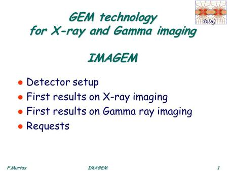 F.Murtas1IMAGEM DDG GEM technology for X-ray and Gamma imaging IMAGEM l Detector setup l First results on X-ray imaging l First results on Gamma ray imaging.