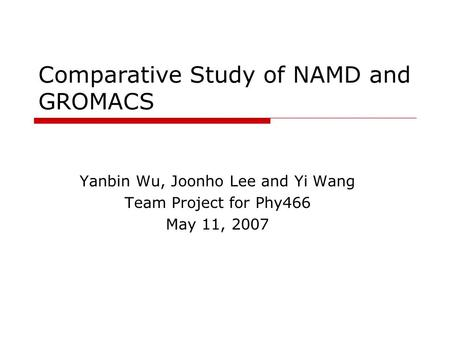 Comparative Study of NAMD and GROMACS