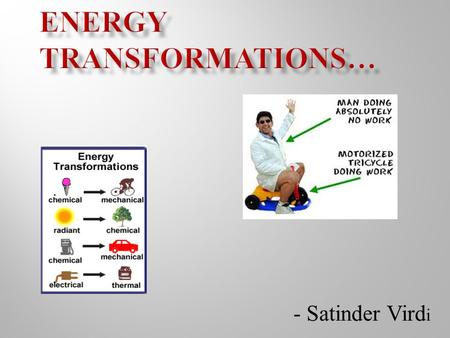 - Satinder Vird i D3.1 describe a variety of energy transfers and transformations, and explain them using the law of conservation of energy D3.2 explain.