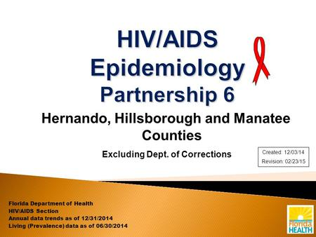 Hernando, Hillsborough and Manatee Counties Excluding Dept. of Corrections Florida Department of Health HIV/AIDS Section Annual data trends as of 12/31/2014.