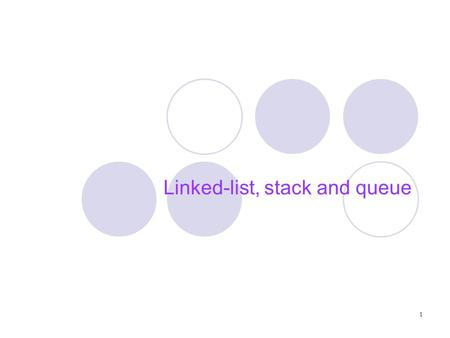 1 Linked-list, stack and queue. 2 Outline Abstract Data Type (ADT)‏ Linked list Stack Queue.