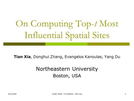 9/2/2005VLDB 2005, Trondheim, Norway1 On Computing Top-t Most Influential Spatial Sites Tian Xia, Donghui Zhang, Evangelos Kanoulas, Yang Du Northeastern.