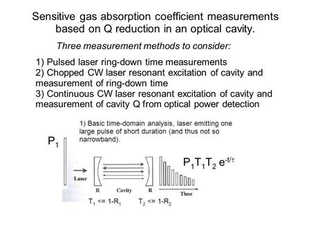 Sensitive gas absorption coefficient measurements based on Q reduction in an optical cavity. 1) Pulsed laser ring-down time measurements 2) Chopped CW.