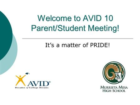 Welcome to AVID 10 Parent/Student Meeting! It's a matter of PRIDE!
