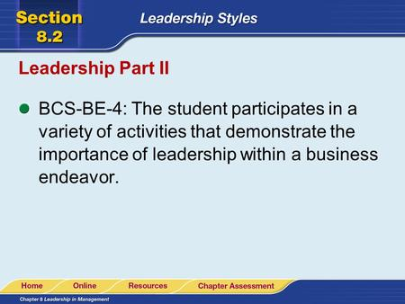 Leadership Part II BCS-BE-4: The student participates in a variety of activities that demonstrate the importance of leadership within a business endeavor.