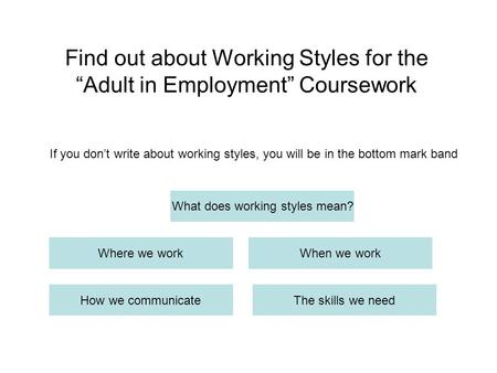 "Find out about Working Styles for the ""Adult in Employment"" Coursework What does working styles mean? Where we workWhen we work How we communicateThe skills."