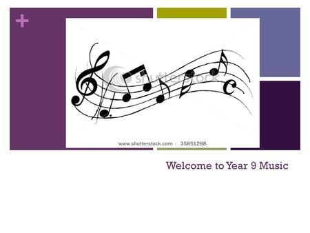 + Welcome to Year 9 Music. + Contents What we will be learning in Music Criteria A – Knowledge and Understanding Criteria B – Application (Composition.