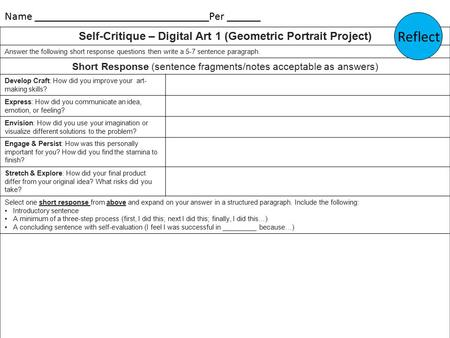Self-Critique – Digital Art 1 (Geometric Portrait Project) Answer the following short response questions then write a 5-7 sentence paragraph. Short Response.