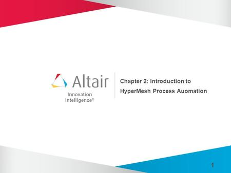 Innovation Intelligence ® 1 Chapter 2: Introduction to HyperMesh Process Auomation.