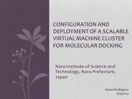 Nara Institute of Science and Technology, Nara Prefecture, Japan CONFIGURATION AND DEPLOYMENT OF A SCALABLE VIRTUAL MACHINE CLUSTER FOR MOLECULAR DOCKING.