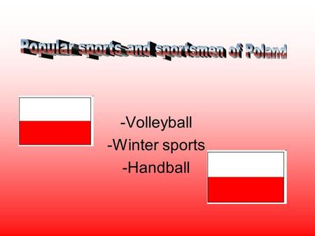-Volleyball -Winter sports -Handball. Our national sport is the men's volleyball team that represents the country in internetional competitions and friendly.