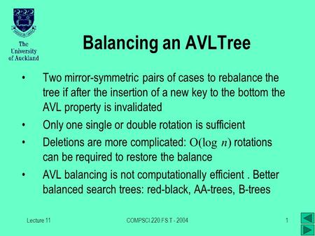 Lecture 11COMPSCI.220.FS.T - 20041 Balancing an AVLTree Two mirror-symmetric pairs of cases to rebalance the tree if after the insertion of a new key to.