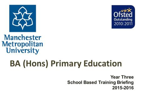 BA (Hons) Primary Education Year Three School Based Training Briefing 2015-2016.