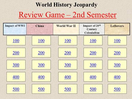 100 200 300 400 500 100 200 300 400 500 100 200 300 400 500 World History Jeopardy 100 200 300 400 500 100 200 300 400 500 Impact of WWI ChinaWorld War.