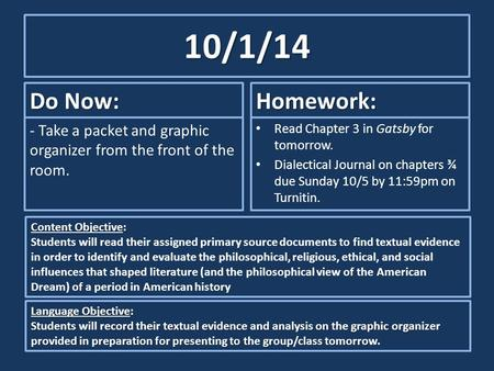 10/1/14 Do Now: - Take a packet and graphic organizer from the front of the room. Homework: Read Chapter 3 in Gatsby for tomorrow. Dialectical Journal.