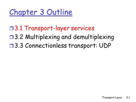 Transport Layer 3-1 Chapter 3 Outline r 3.1 Transport-layer services r 3.2 Multiplexing and demultiplexing r 3.3 Connectionless transport: UDP.