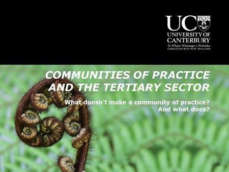 COMMUNITIES OF PRACTICE AND THE TERTIARY SECTOR What doesn't make a community of practice? And what does?