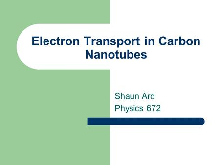 Electron Transport in Carbon Nanotubes
