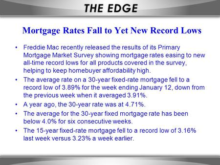 Mortgage Rates Fall to Yet New Record Lows Freddie Mac recently released the results of its Primary Mortgage Market Survey showing mortgage rates easing.