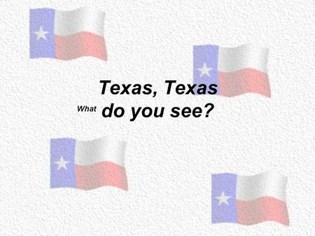 Texas, Texas do you see? What Texas, Texas What do you see? I see the state flag looking at me! Lone Star Flag.