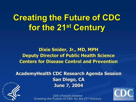 TM CDC's Futures Initiative Creating the Future of CDC for the 21 st Century Dixie Snider, Jr., MD, MPH Deputy Director of Public Health Science Centers.