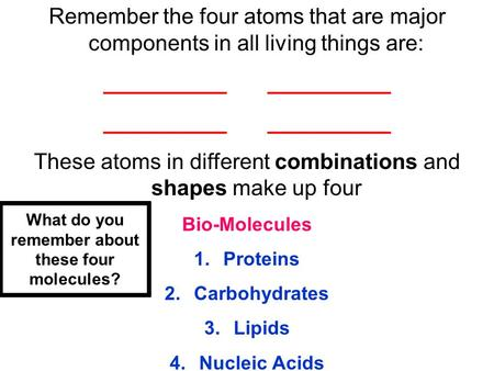 Remember the four atoms that are major components in all living things are: __________ These atoms in different combinations and shapes make up four Bio-Molecules.
