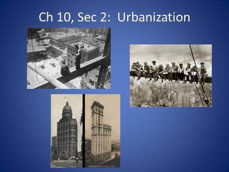 Ch 10, Sec 2: Urbanization. Population Growth of Cities Immigration caused cities to grow from 1860- 1900 – New York, Chicago, Philadelphia, Boston 2,500.