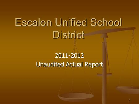 1 Escalon Unified School District 2011-2012 Unaudited Actual Report.