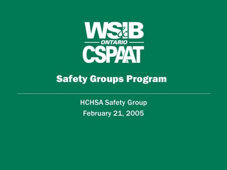 Safety Groups Program HCHSA Safety Group February 21, 2005.