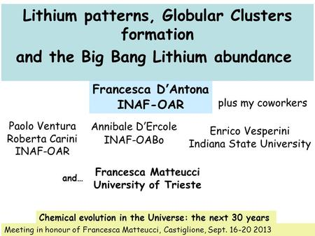 Lithium patterns, Globular Clusters formation and the Big Bang Lithium abundance Francesca D'Antona INAF-OAR Meeting in honour of Francesca Matteucci,