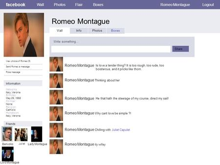 Romeo Montague facebook Wall Photos Flair Boxes Romeo Montague Logout