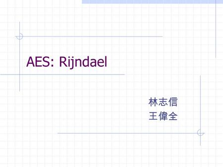 AES: Rijndael 林志信 王偉全. Outline Introduction Mathematical background Specification Motivation for design choice Conclusion Discussion.