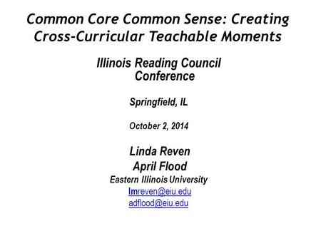 Common Core Common Sense: Creating Cross-Curricular Teachable Moments