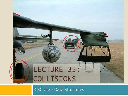 LECTURE 35: COLLISIONS CSC 212 – Data Structures.
