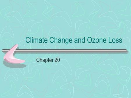 Climate Change and Ozone Loss Chapter 20. The Greenhouse Effect We know that short wave radiation from the sun passes through the air to earth with little.