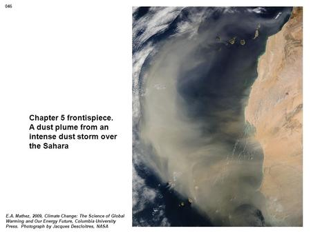 Chapter 5 frontispiece. A dust plume from an intense dust storm over the Sahara E.A. Mathez, 2009, Climate Change: The Science of Global Warming and Our.