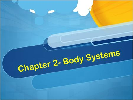 Chapter 2- Body Systems. Characteristics of a System A system is made of individual parts that work together as a whole. A system is usually connected.