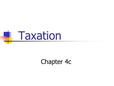 Taxation Chapter 4c. Effects of Taxation on Economic Welfare How are consumers affected by taxes? How are producers affected by taxes? What tax revenues.