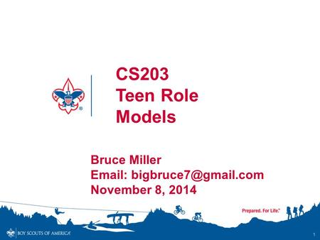 1 CS203 Teen Role Models Bruce Miller   November 8, 2014.