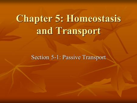 Chapter 5: Homeostasis and Transport Section 5-1: Passive Transport.