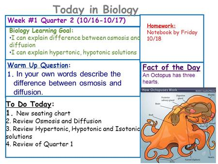 Week #1 Quarter 2 (10/16-10/17) Homework: Notebook by Friday 10/18 To Do Today: 1. New seating chart 2. Review Osmosis and Diffusion 3. Review Hypertonic,