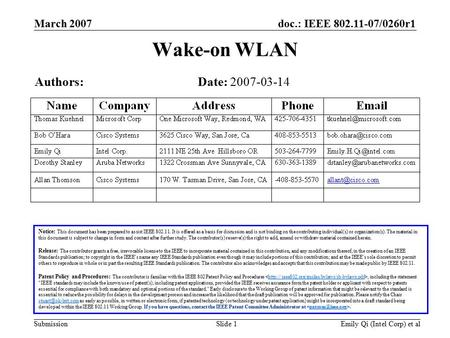 Doc.: IEEE 802.11-07/0260r1 Submission March 2007 Emily Qi (Intel Corp) et alSlide 1 Wake-on WLAN Notice: This document has been prepared to assist IEEE.