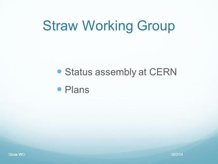 Straw Working Group Status assembly at CERN Plans 10/2/14Straw WG.