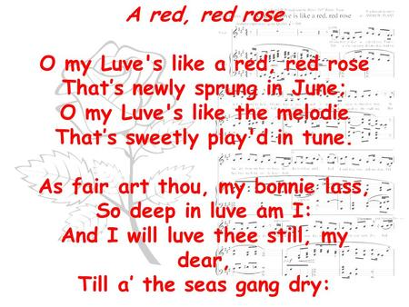 a literary analysis of a red red rose by robert burns Art essay / literary arts essays / poetry essays / a comparison of the two poems 'a red, red, rose' by robert burns robert from artscolumbia.