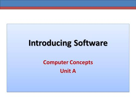 Introducing Software Computer Concepts Unit A. Introducing Software What is an Operating System? OS is the master controller for all the activities that.