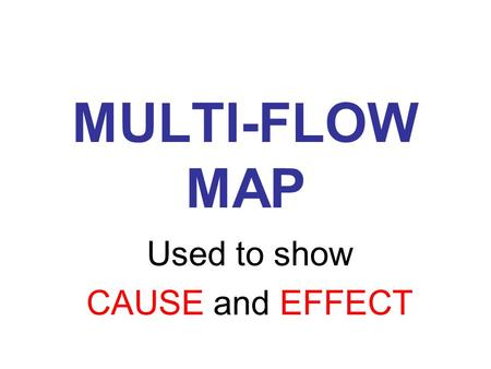 MULTI-FLOW MAP Used to show CAUSE and EFFECT. The Event CAUSE EFFECT.