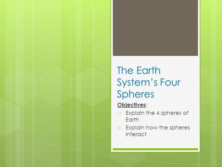 The Earth System's Four Spheres Objectives : 1) Explain the 4 spheres of Earth 2) Explain how the spheres interact.
