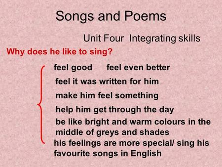 Songs and Poems Unit Four Integrating skills Why does he like to sing? feel good feel even better feel it was written for him make him feel something help.