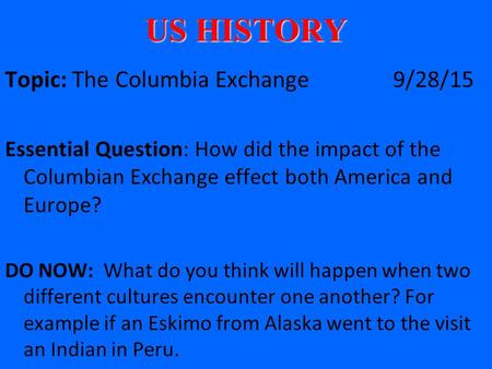 columbian exchange essay thesis